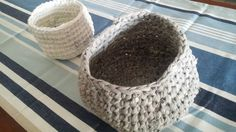 #crochet #DIY #handmade #recycledteeshirt #panier #corbeille