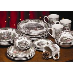 @Overstock.com - Johnson Brothers Friendly Village 28-Piece Dinnerware Set - Drawing  sc 1 st  Pinterest & christmas china dinnerware patterns | China Crystal and Silver ...