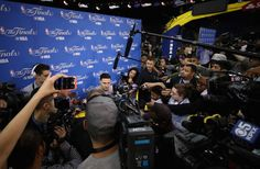 Klay Thompson of the Golden State Warriors is interviewed by the media following a practice for the 2017 NBA Finals at ORACLE Arena on May 31 2017 in...