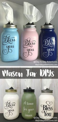 DIY Bless You Mason Jar Tissue Dispenser This idea is genius in its simplicity! Seriously, how could we not have thought about it ourselves? We love absolutely everything about this set of jar tissue dispensers by Day to Day Adventures! #jardiy #jarcrafts #jargift #jardecoratingideas #jarideas