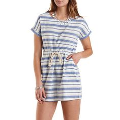 Drawstring Striped Cotton Dress