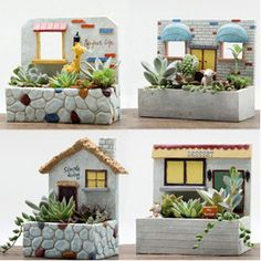 Resina criativo hanging planter Flowerpot Kawaii J - Jardin Vertical Fachada Pottery Houses, Ceramic Houses, Slab Pottery, Rock Garden Design, Garden Design Plans, Cement Crafts, Concrete Projects, Wood Plank Art, Mediterranean Garden Design