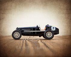 Black No.7 Vintage Race Car