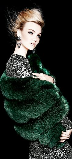 Glam Girls from Neiman Marcus Hunter Green, Glamour, Neiman Marcus Christmas Book, Fabulous Furs, Christmas Books, Fur Fashion, Fashion 2015, Green Fashion, Fashion Trends