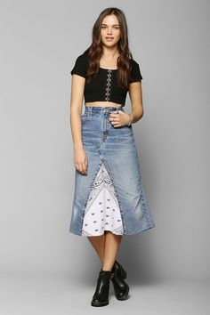 Urban Renewal Bandana-Inset Denim Maxi Skirt