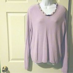 """Sweater Lightweight  V neck 26"""" shoulder to hem 23"""" across chest Lovely lavender 100% acrylic very soft  Pair with necklace shown and bracelet sold separately in closet Carolyn taylor Sweaters V-Necks"""