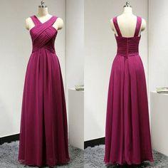fuchsia bridesmaid dress,long bridesmaid dress,chiffon bridesmaid dress,cheap bridesmaid dress,BD624