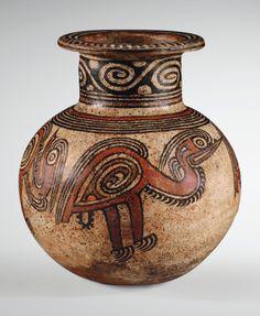 """polychrome globular jar, Macaracas style, Gran Coclé region, Panamá   Period V,  AD 850-1000,  10.75 x 6.25"""" d. (27.3 x 15.5 cm d.)  via Sotheby's"""