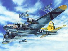 Part I. Eighth USAAF (May 1942 - 1945) The B-17 Flying Fortress; four-engined heavy bomber, manned by a crew of 10: pilot, co-pilot, bombardier, navigator, engineer/top gunner, radioman/gunner, belly gunner, two waist gunners, tail gunner; protected by .50 cal. machine guns. By war's end more than 12,000 (12,731) had been built