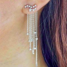 Cz Ear Jacket Star Earrings
