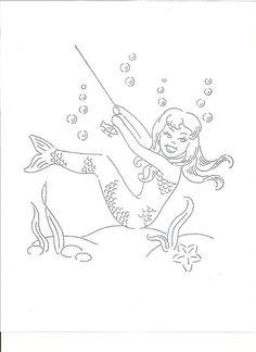 Mermaid Pin Ups vintage embroidery pattern by missamyo, via Flickr