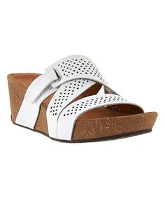 Loving this White Auriel Bright Leather Wedge Sandal on #zulily! #zulilyfinds