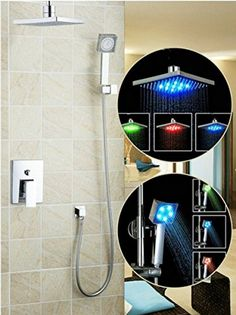 "GOWE Shower Set Torneira LED Light 8"" Shower Head Bathroom Rainfall Vanity Cooper Plumbing Fixtures Faucets,Mixers Tap -- Awesome products selected by Anna Churchill"