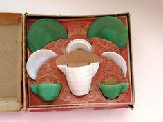 Childrens Dish Set Akro Agate 8 Piece Kids Tea Party Set Green White Org Box EUC