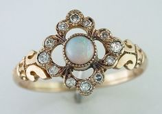 Vintage Antique Victorian 1/3ct Diamond & Opal 14K Yellow Gold Cocktail Ring #SolitairewithAccents