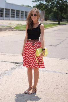 Chevron stripe skirt and flat sandals - campus style
