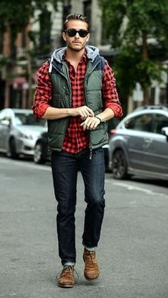 I love the lumberjack style shirt. The rugged look is perfect for fall.