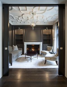 Salon with Custom Plaster Ceiling traditional living room design by chicago architect dSPACE Studio Ltd