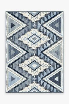 This contemporary take on classic Southwestern rug designs patterns a graphic and geometric motif in various shades of blue over a light background. Teal Rug, Turquoise Rug, Stone Rug, Machine Washable Rugs, 8x10 Area Rugs, 5x7 Rugs, Black Rug, Natural Rug, Woven Rug