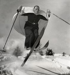 Vintage Sports: 'Ski-sailing', a new sport invented in Austria, shown here on the slopes of St. Moritz, Switzerland. Circa 1938. Photo Credit: Nationaal Archief