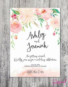 Save the date watercolor floral spring summer wedding invitation custom pastel DIGITAL FILE printable by RachelsWorkroom on Etsy https://www.etsy.com/listing/249912039/save-the-date-watercolor-floral-spring