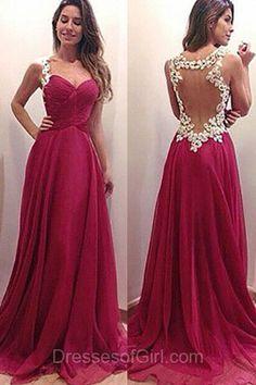 Chiffon Prom Dress, Burgundy Prom Dresses, Open Back Evening Dresses, Long Party Dresses, Aline Formal Dresses