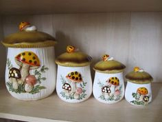 Retro Owl Canisters   My Grandmother Had This Set.