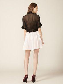 sheer back, silk shorts