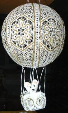 Advanced Embroidery Designs - FSL Battenberg Lace Hot-Air Balloon Ornament