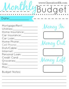 Free Monthly Budget Template  M    Monthly Budget