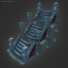 Low Poly 3D Models | Bitgem Modular Stairs - Dungeon