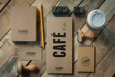 A solid single color coffee shop identity done with stamps. Cheap and very nice.