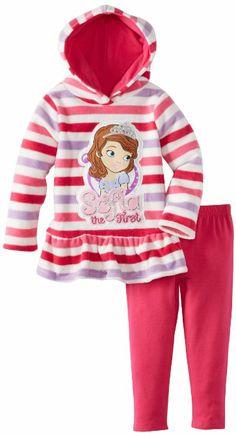 Amazon.com  Disney Girls 2-6X Sofia 2 Piece Striped Pulloverhood and Pant cf9ca2746