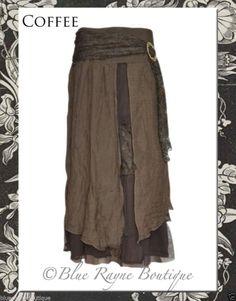 PRETTY ANGEL Romance Victorian Vintage Fairy Layer Skirt BoHo Gypsy BROWN COFFEE