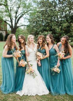 Elegant Peach and Teal Backyard Wedding