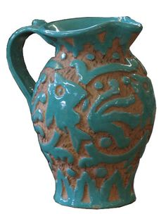 Hand Carved Italian Pottery Pitcher with Fish Motif