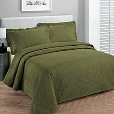 """Fancy Collection 3pc Luxury Bedspread Coverlet Embossed Bed Cover Solid Olive Green New Over Size Full/queen 100"""" X 106"""" Fancy Linen http://www.amazon.com/dp/B019YJM4LU/ref=cm_sw_r_pi_dp_YQm0wb0ZYMBB9"""