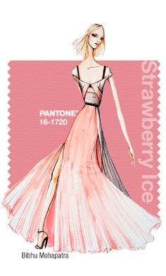 Bibhu Mohapatra in Pantone Strawberry Ice - SPRING 2015 PANTONE's #FashionColorReport