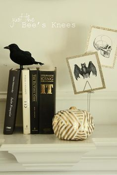 just the bee's knees: A glam Halloween fireplace mantle