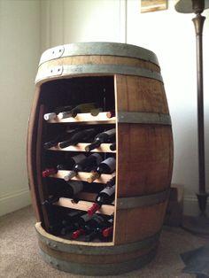Cool ManCaves - Reclaimed Oak Barrel Wine Rack by Watermead on Etsy