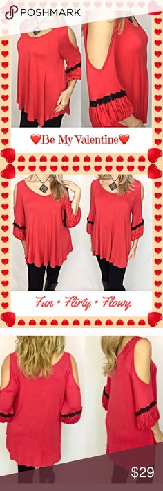 """Flirty Cold Shoulder Red Peasant Top S M Be fun & flirty in this ever so comfortable poppy red & black crochet lace trim cold shoulder boho peasant tunic. This top is so easy to wear & has a very flowy, flattering fit. 95% Rayon 5% spandex lightweight, stretchy fabric.   • Small (Will Also Fit Medium)  Bust 34-38 Length 28""""  • Medium (Will Also Fit Large) Bust 38-42 Length 29"""" Tops"""