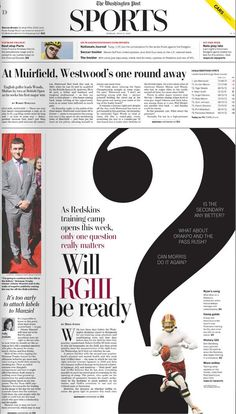 Washington Post sports front -- great play with the typography