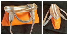 Sac City Zip-Zip cousu par Galou en simili orange et simili Glitter - Patron couture Sacôtin