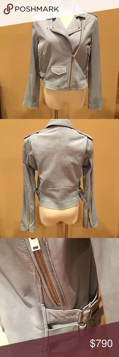 NWT IRO Baby Blue Leather Ashville  Moto Jacket 40 IRO jackets have a cult following & that's because they make the coolest, softest, best leather Moto jackets in the world. This gorgeous baby blue leather, the color of your favorite faded jeans has a fittest silhouette, asymmetrical zipper, slash pockets, zippers on the sleeves, epaulets, adjustable buckles at waist. Designed with gussets at shoulder for comfortable fit and wear. This will be your go to Jacket forever. Once you wear it, you…
