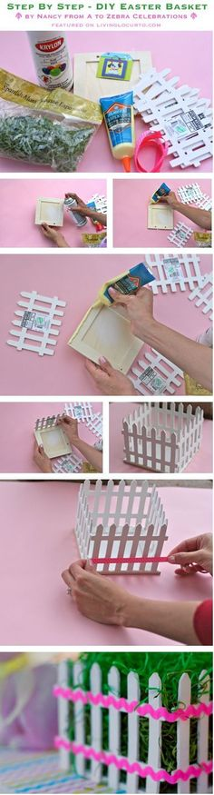 DIY Easter Basket (picket fence) Centerpiece {Craft Tutorial} Also could be used for Spring Shower centerpieces, etc. Use those imaginations! by tabitha Spring Crafts, Holiday Crafts, Craft Stick Crafts, Diy Crafts, Bunny Crafts, Basket Crafts, Diy Ostern, Easter Projects, Diy Projects