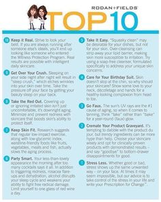 Some great skincare tips from two top Dermatologists -Drs Rodan and Fields. Ask me which Rodan and Fields regimen would be perfect for you! www.hobgood.myrandf.com