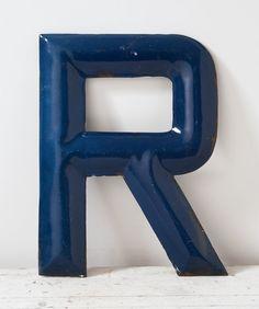 Lettera d'epoca R blu cobalto metallo smalto di fallaloft su Etsy