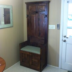 Old Door & Cabinet turned into a Hall Tree!