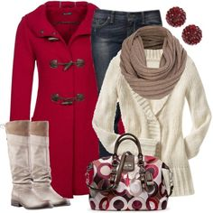 Winter Outfit Cream & Red