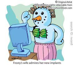 snow woman cartoons, breast implants